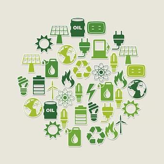 灰色の背景ベクトル図上のエネルギー設計