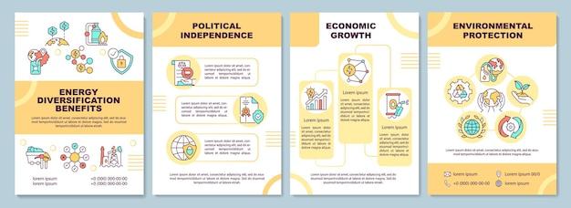 Шаблон брошюры о преимуществах диверсификации энергетики. флаер, буклет, печать листовок, дизайн обложки с линейными иконками. для презентации, годовых отчетов, рекламных страниц