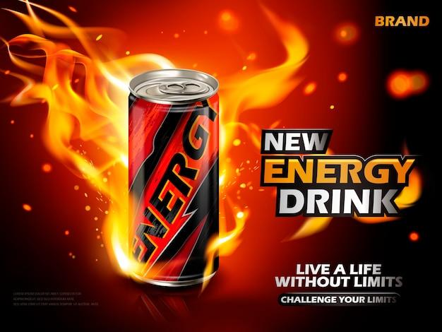 炎の要素、赤い背景を持つ金属缶に含まれているエネルギードリンク
