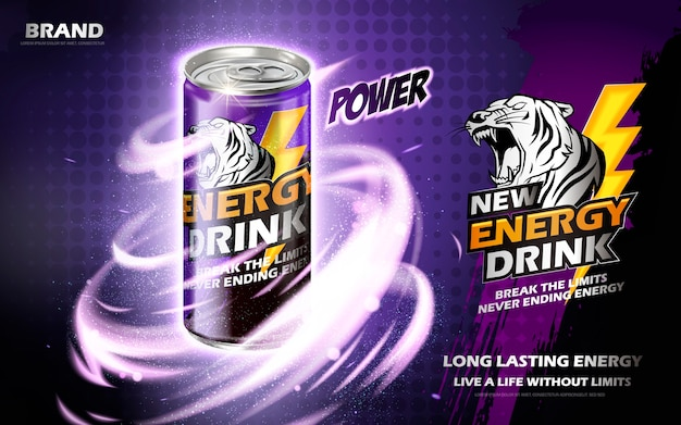 神秘的なツイスター要素、紫色の背景を持つ金属缶に含まれているエネルギードリンク