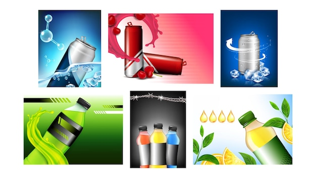 Energy drink creative promotion posters set vector. vitamin energy drink blank bottles and packages, natural orange fruit and cherry berry on advertise banners. style concept template illustrations