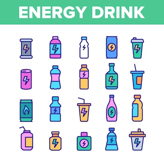 Energy drink elements icons set