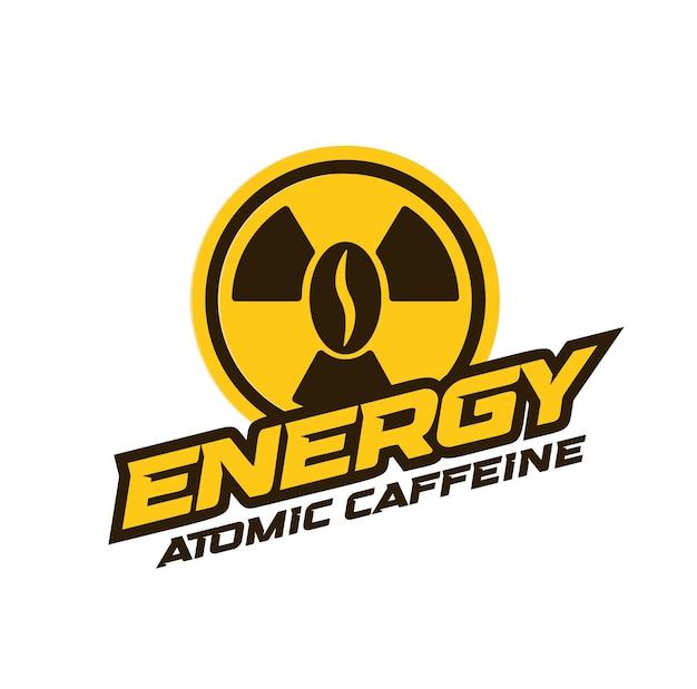 エナジードリンクロゴモダンコンセプトアトミックカフェインバナーコンセプトコーヒーパワー抽象的なエンブレム