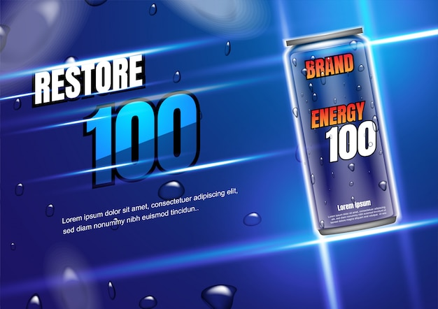 Energy drink with shining light