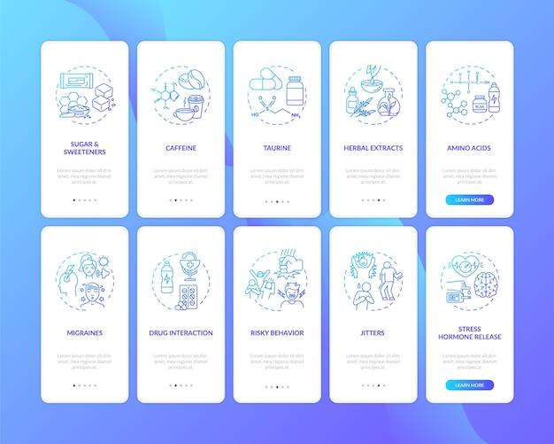 Ингредиенты для энергетических напитков и опасности на экране страницы мобильного приложения с набором концепций
