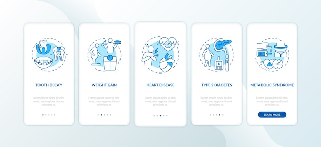 Energy drinks negative effects onboarding mobile app page screen with concepts