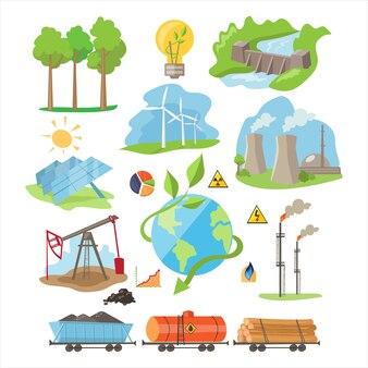 エネルギーエコリソース。イラストセット
