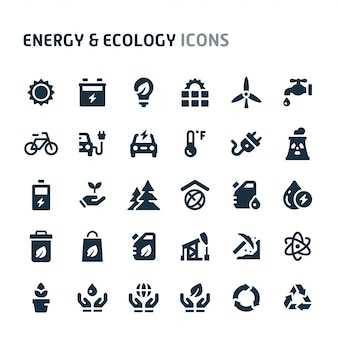 Energy & ecology icon set. fillio black icon series.