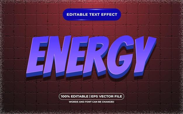 Энергетический редактируемый текстовый эффект, мультяшный и игровой стиль