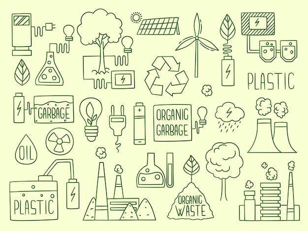 エネルギー。電気性電池リサイクルエレメント工場生産水エネルギー地球燃料生産。電気再生可能、環境代替電力エネルギーの図