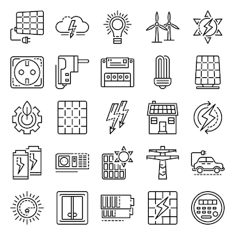 Energy equipment icon set. outline set of energy equipment vector icons