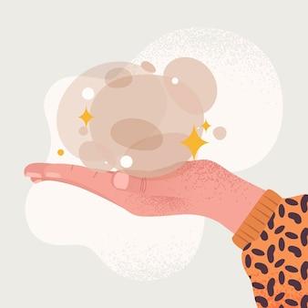 Energy healing hands illustration