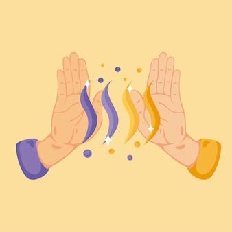 エネルギー癒しの手のイラスト