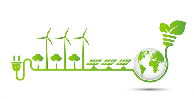 에너지 아이디어는 세계 개념 전원 플러그 녹색 생태를 저장 프리미엄 벡터