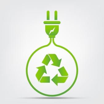 에너지 아이디어는 세계 개념 전원 플러그 녹색 생태를 저장