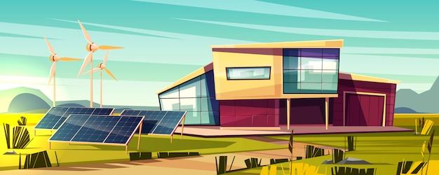 Energy independent, efficient house cartoon concept. modern cottage with solar panel