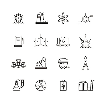 Energy industry and power factory modern industrial line icons