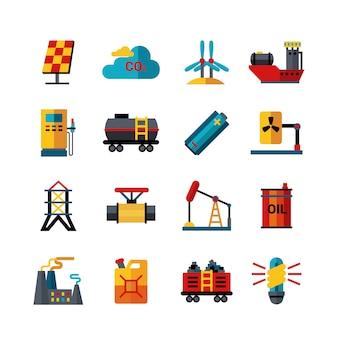 Energy industry production flat icons set