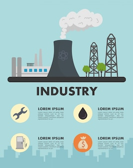 Energy industry production plant scene and set icons vector illustration design