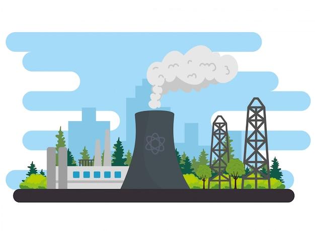 Дизайн иллюстрации вектора сцены завода по производству энергетической промышленности