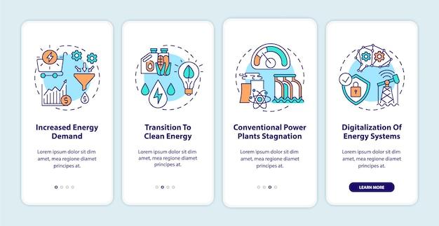 개념이있는 모바일 앱 페이지 화면 온 보딩 에너지 산업 동향