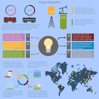 Energy infographic template set