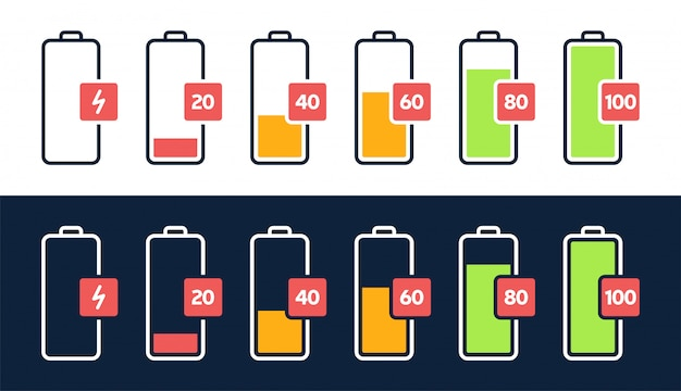 Energy level icon. charge load, phone battery indicator, smartphone power level, accumulator energy empty and full status icons set. stages of gadget recharging. charging energy percent