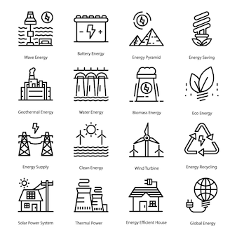 Energy line icons set