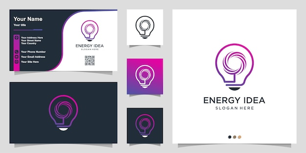 Energy logo with cool gradient idea and business card design template premium vector