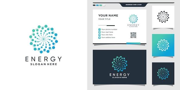 점 및 선형 스타일의 에너지 로고. 에너지 로고 아이콘 기술 및 명함