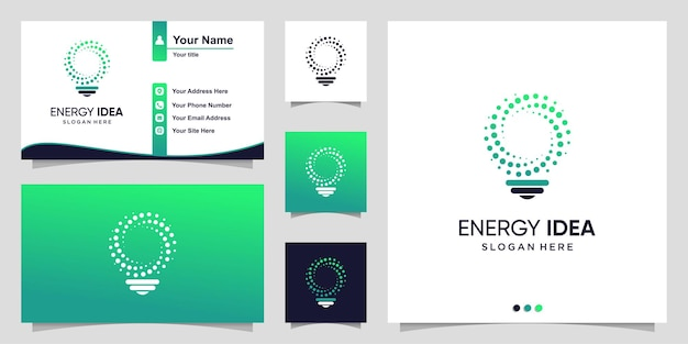 Энергетический логотип с градиентной лампочкой и шаблоном дизайна визитной карточки premium векторы