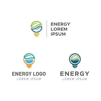 Energy logo with leaf, water and electricity lightbulb