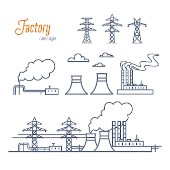 Energy plant or industrial factory set