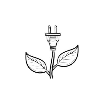 에너지 플러그 손으로 그린 개요 낙서 아이콘입니다. 생태 지속 가능성 개념입니다. 흰색 배경에 격리된 인쇄, 웹, 모바일 및 인포그래픽을 위한 잎 벡터 스케치 그림이 있는 전기 플러그.