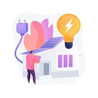 エネルギープラスハウスの抽象的な概念のベクトル図です。ゼロエネルギービル、低エネルギーパッシブハウス、建設業界、効率プラス住宅、再生可能エネルギー源は比喩を抽象化します。