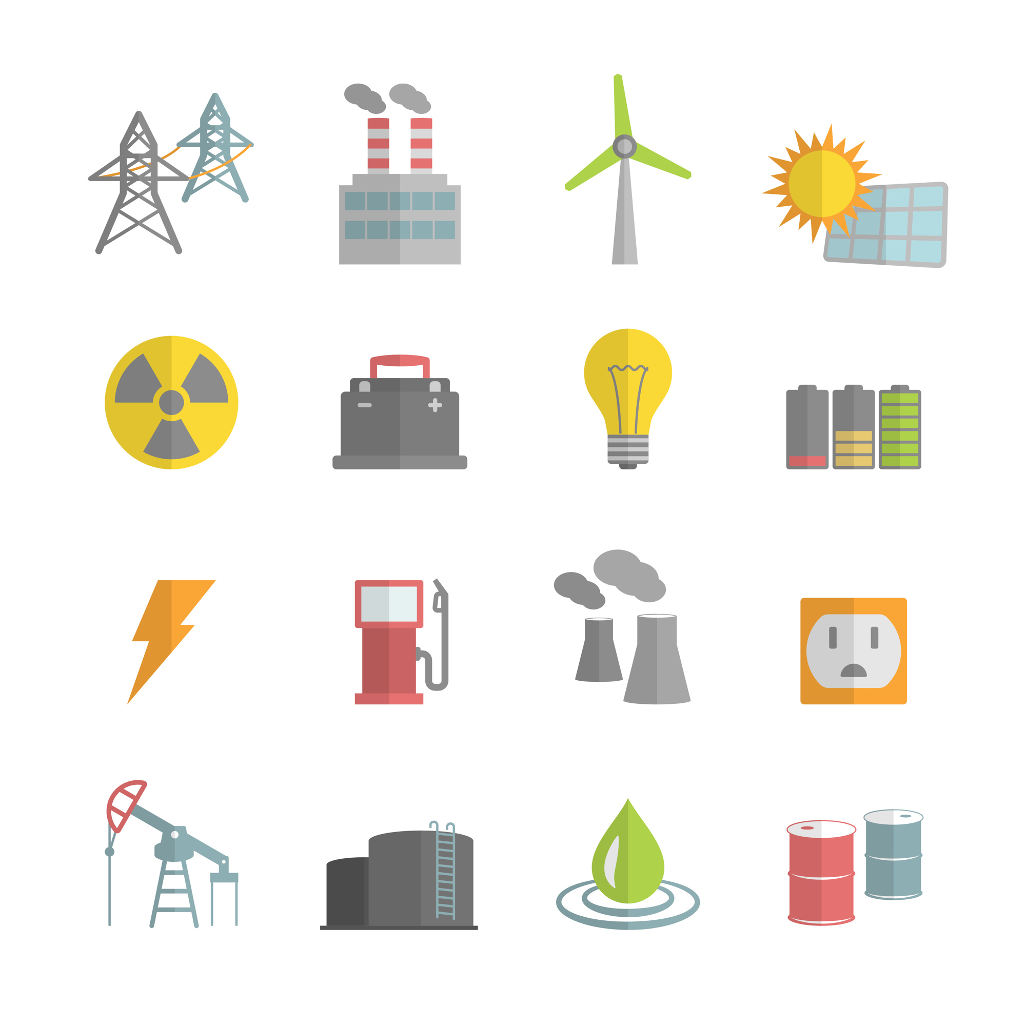 Energy power plant icons collection