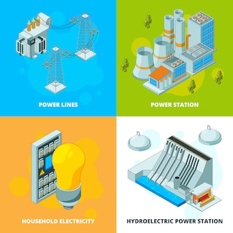 Energy power stations. electrical symbols generator high voltage transmission  isometric  pictures