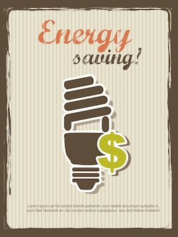 Energy saving annoucement vintage style vector illustration