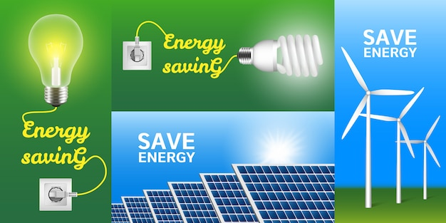 Energy saving banner set