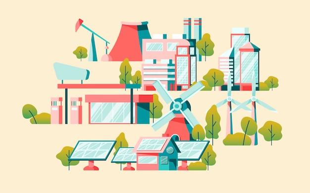 Вектор концепции энергосбережения в желтом