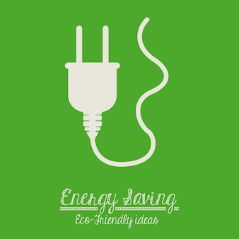 Energy saving design over green background