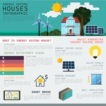 Energy saving idea infographic chart.