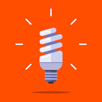 Energy saving lamp in the form of a spiral on an orange background. flat illustration.