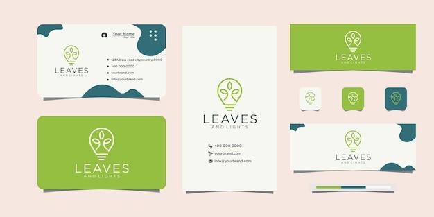Energy saving lamp symbol leaf logo design and business card