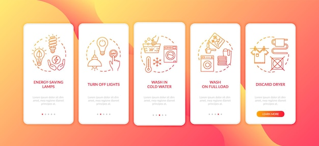 Energy saving tips onboarding mobile app page screen with concepts. resource efficient lifestyle walkthrough five steps graphic instructions. ui vector template with rgb color illustrations