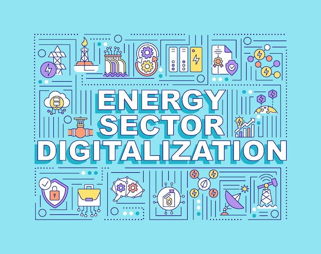 Energy sector digitalization word concepts. automatical process of getting fuel.
