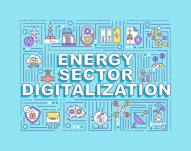 에너지 부문 디지털화 단어 개념. 연료를 얻는 자동 과정.