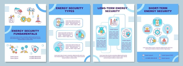Energy security fundamentals brochure template. energy security. flyer, booklet, leaflet print, cover design with linear icons.
