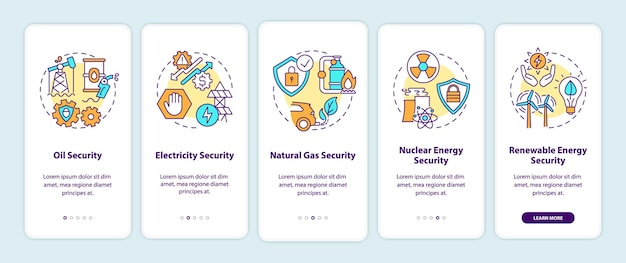 개념이있는 에너지 보안 유형 온 보딩 모바일 앱 페이지 화면