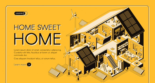 Energy self-sufficient house isometric vector web banner, landing page.